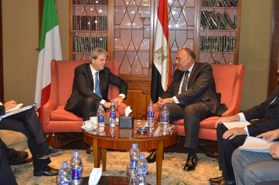 Egyptian Foreign Minister Sameh Shoukry met with his Italian counterpart Paolo Gentiloni on Sunday (Photo Ministry of Foreign Affairs Handout)