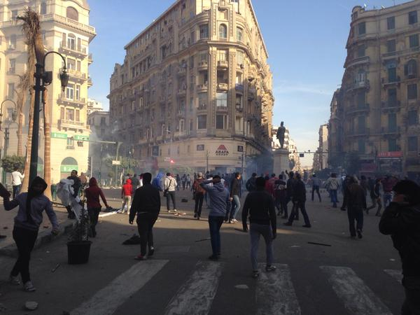 A small protest in Talaat Harb Square in Downtown Cairo was dispersed with tear gas (Photo by Emir Nader)