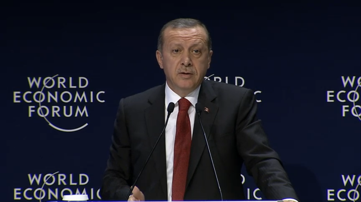Turkish President Recep Tayyip Erdogan delivering the keynote address at the World Economic Forum in Istanbul on Sunday evening (screenshot from the World Economic Forum website)