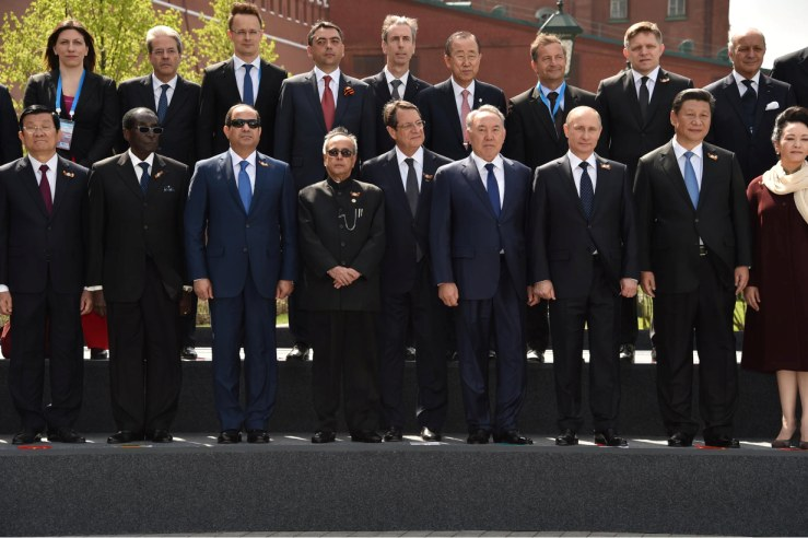 President Al-Sisi, Russian President Vladimir Putin and world leaders in Moscow for Russian Victory Day on 9 May 2015. Photo by presidential office
