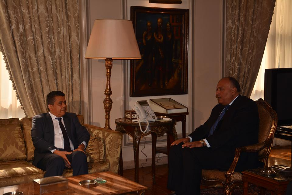 "Foreign Minister Sameh Shoukry expressed ""deep concern"" over the conflict in Libya and its implications for the country's future, in a Sunday meeting with his Libyan counterpart, Mohamed Al-Dairi. (Photo Ministry of Foreign Affairs Handout)"