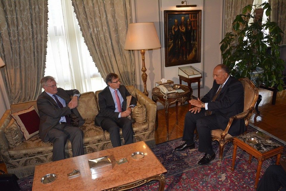 Foreign Minister Sameh Shoukry met with United Nations Envoy for Libya Bernadino Leon on Tuesday morning to discuss the crisis in Libya, updating him on the results of the regional conference held in Cairo on Monday.  (Photo Ministry of Foreign Affairs Handout)