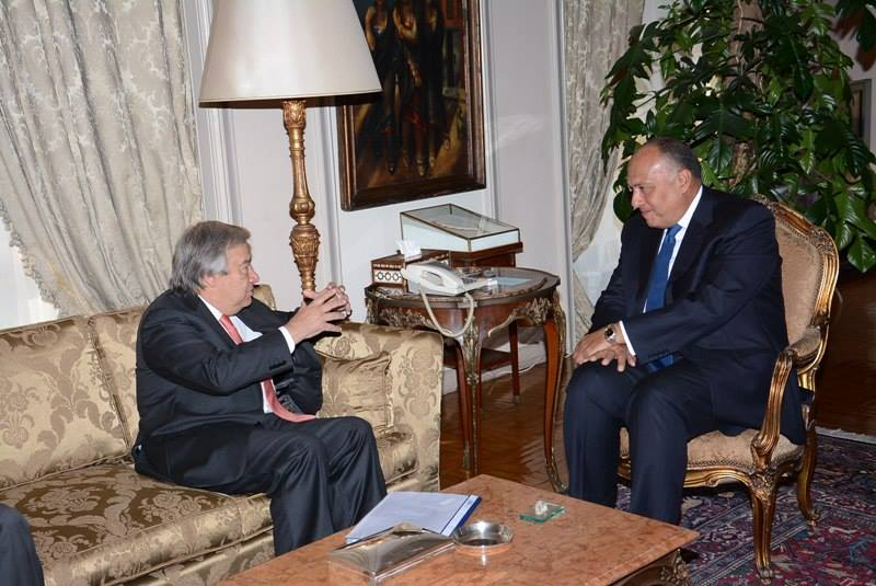 Foreign Minister Sameh Shoukry met with United Nations Human Rights Commissioner for Refugees Antonio Guterres on Saturday. (Photo Ministry of Foreign Affairs Handout)
