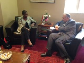 Foreign Minister Sameh Shoukry asserted Egypt's keenness on supporting international aid work during talks Sunday with Valerie Amos, under secretary general and emergency relief coordinator of the Office for Coordination of Humanitarian Affairs. (Photo Ministry of Foreign Affairs Handout)