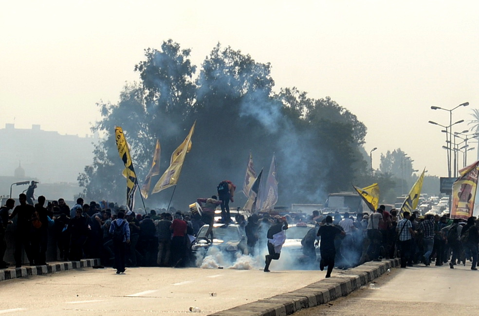 Police fired tear gas at Al Azhar student protesters on Wednesday (Photo by Mohamed Omar/DNE)