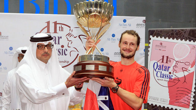 Gregory Gaultier will lead the field at this week's Qatar Classic after Egypt's Ramy Ashour withdrew from the PSA World Series event (PSA Photo)