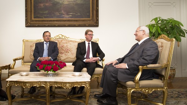 German foreign minister  Westerwelle with interim President Adly Mansour and Egyptian foreign minister Nabil Fahmy during a recent visit to Cairo (Photo courtesy of the German Foreign Ministry)