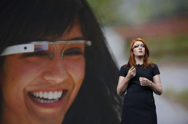 Isabelle Olsson, lead designer of Google's Project Glass, talks about the design of the Google Glass during the keynote at Google's annual developer conference, Google I/O, in San Francisco.  ( AFP Photo/Kimihiro Hoshino)