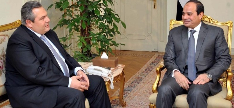 Greek Defence Minister Panos Kammenos met with President Abdel Fattah Al-Sisi on Monday to discuss regional issues, specifically the crisis in Libya, as well as bilateral cooperation. (Photo Greek Defense Ministry Handout)