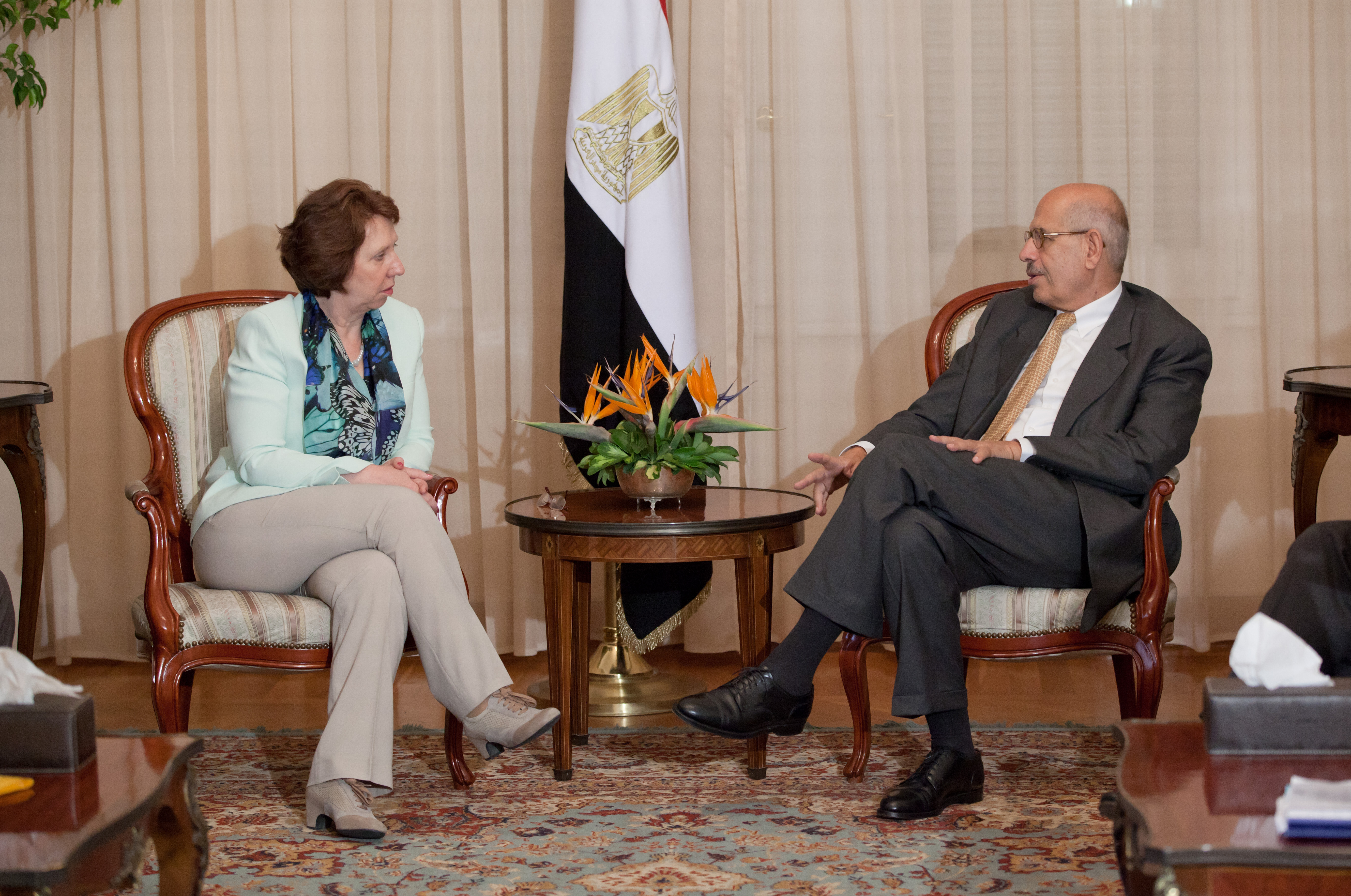On Wednesday July 17th, 2013, High Representative of the Union for Foreign Affairs and Security Policy Catherine Ashton meets with Egypt's vice president, Mohamed ElBaradei. (Photo courtesy of European Union Delegation to Egypt\Pedro Costa )