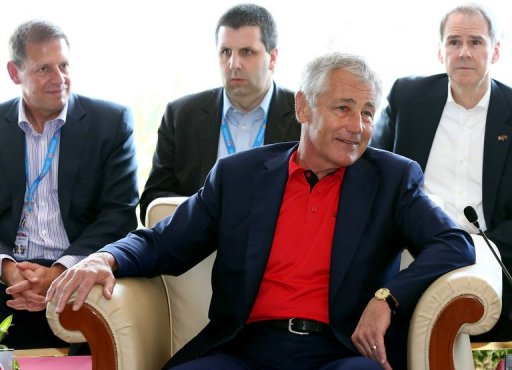 US Defence Secretary Chuck Hagel smiles ahead of a meeting with ASEAN ministers in Brunei on August 28, 2013 (AFP, Dean Kassim)