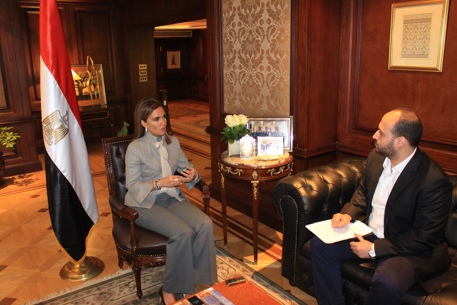 "In her interview with Daily News Egypt on the occasion of the Euromoney conference, Nasr said that the loans for which the ministry negotiates are ""cheap"" and directed to developmental projects. Photo by Mahmoud Fekry)"