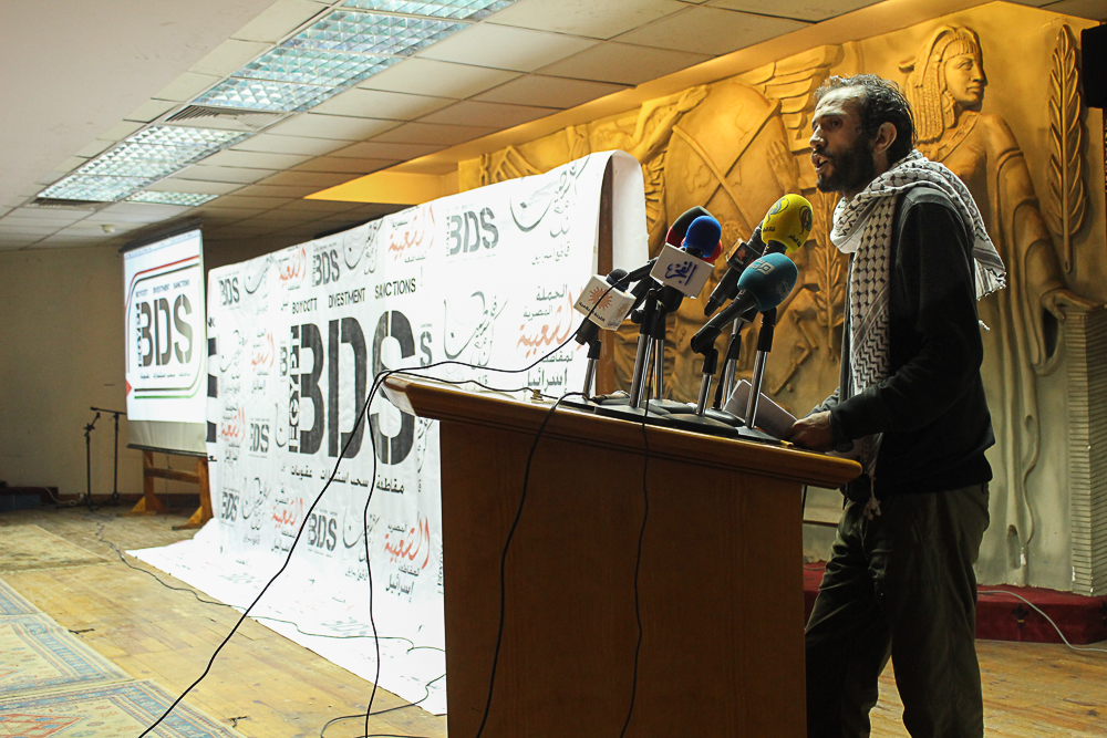 Leftist activist Haythim Mohamden speaking at BDS campaign. (Photo by Mahmoud Fikry)