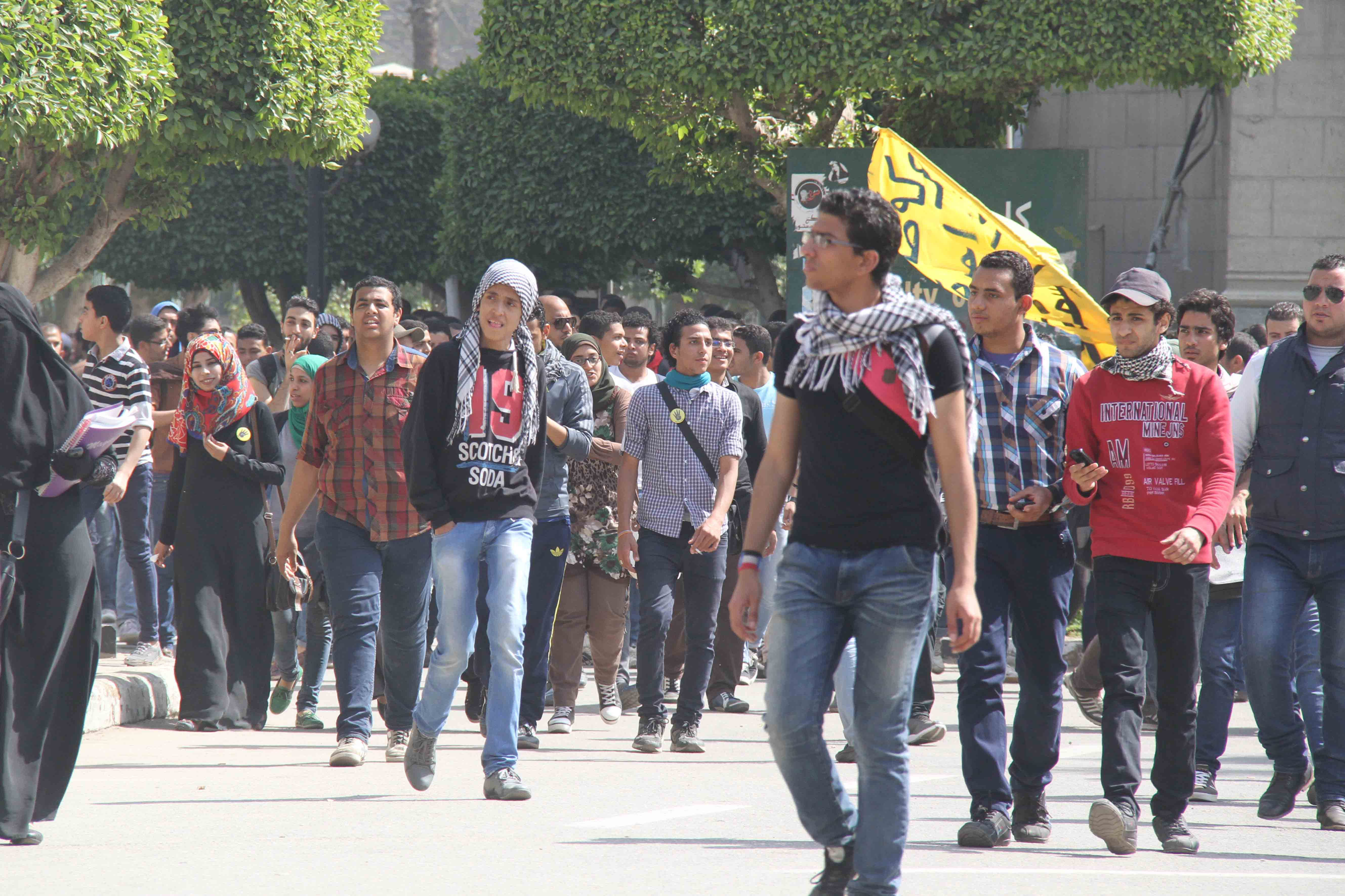 Students Protesters at Cairo University on Wednesday (Photo by Ahmed Al-Malky)