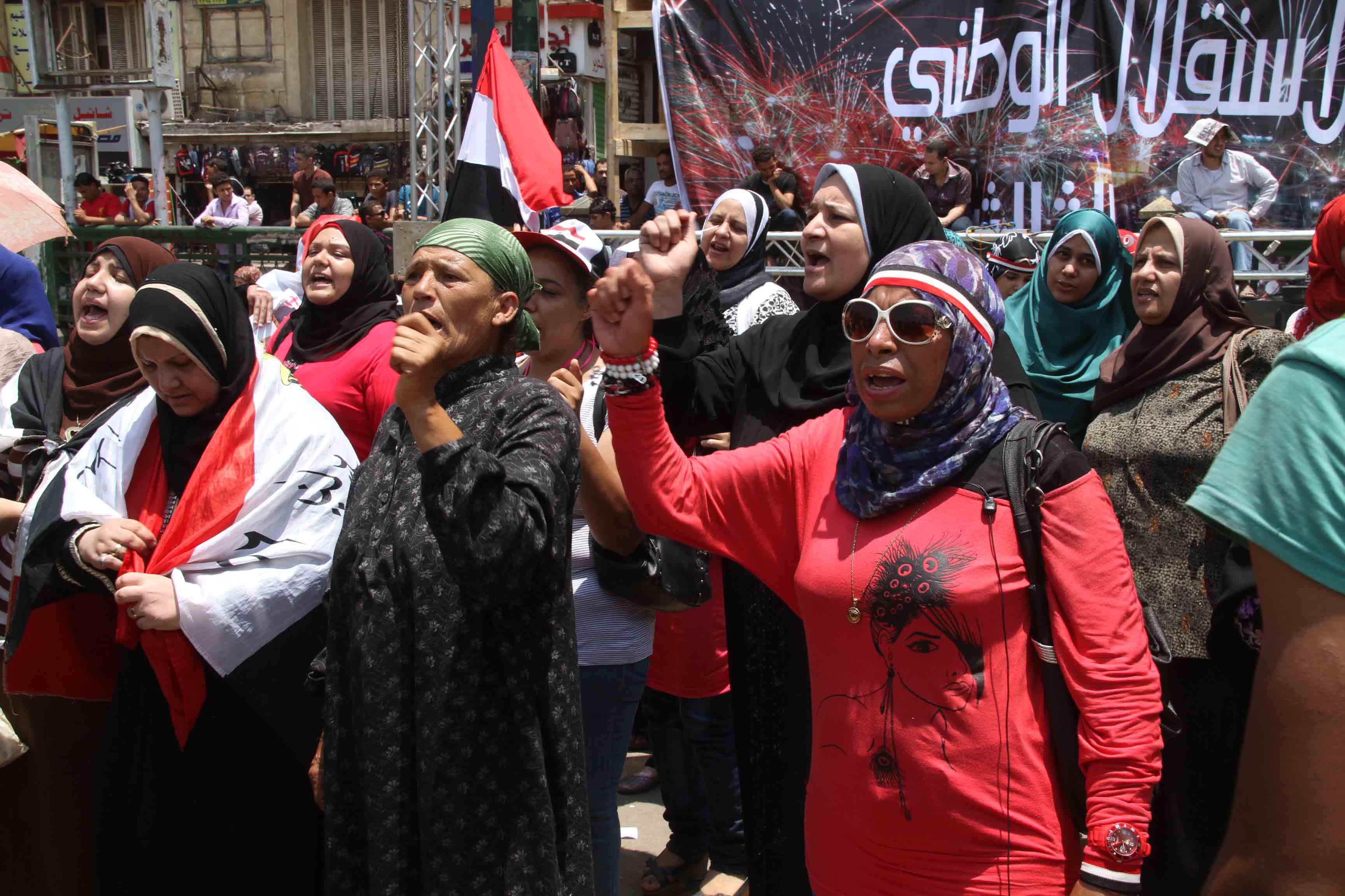 "Marches led by Tamarod are meant ""to assure that legitimacy is for the people, the independence of our choices and to protect the gains of our revolution from any foreign or domestic attempts to undermine the nation and its people's revolution,"" said their campaign. (Photo by Mohamed Omar)"