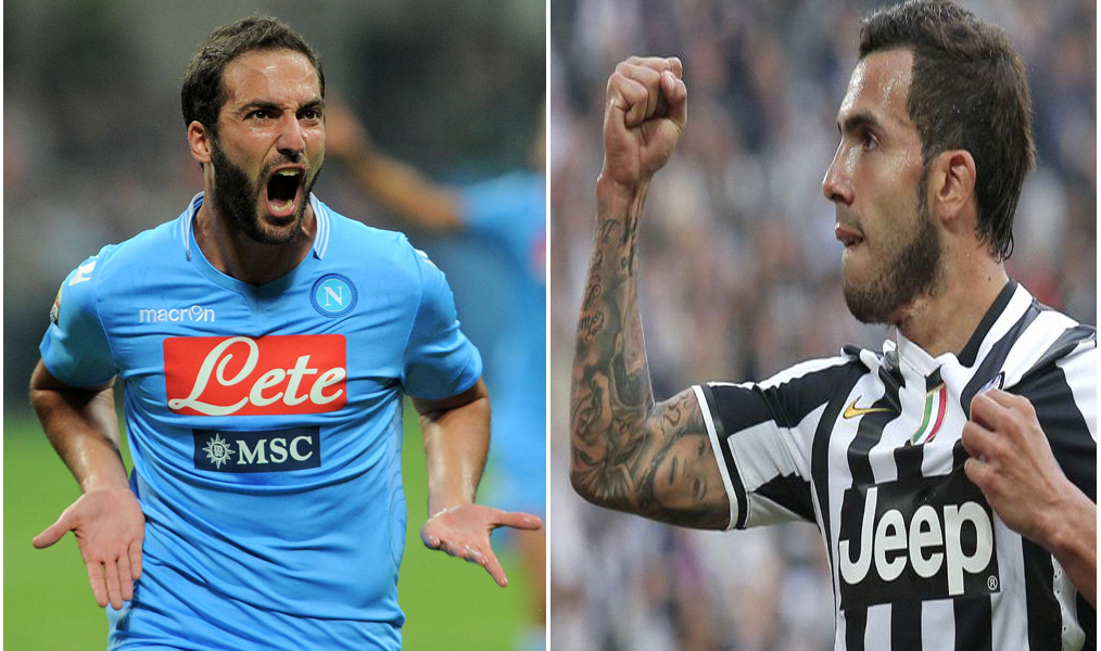 Carlos Teves (R) put Juventus ahead twice, but Argentine Gonzalo Higuain (L) managed to make it a tie for Napoli at 2/2, leaving it up to penalty kicks to seal the game.