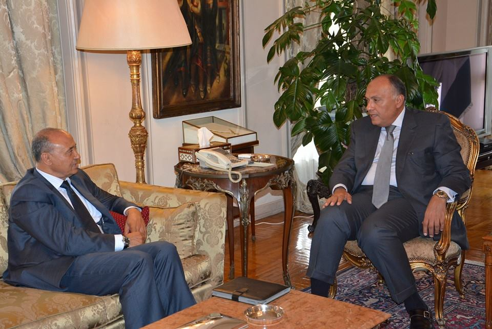 Egypt's Foreign Minister Sameh Shoukry met with his Libyan counterpart Mohamed Abdulaziz on Sunday, when they addressed the latest developments in the neighbouring country. (Photo Ministry of Foreign Affairs Handout)