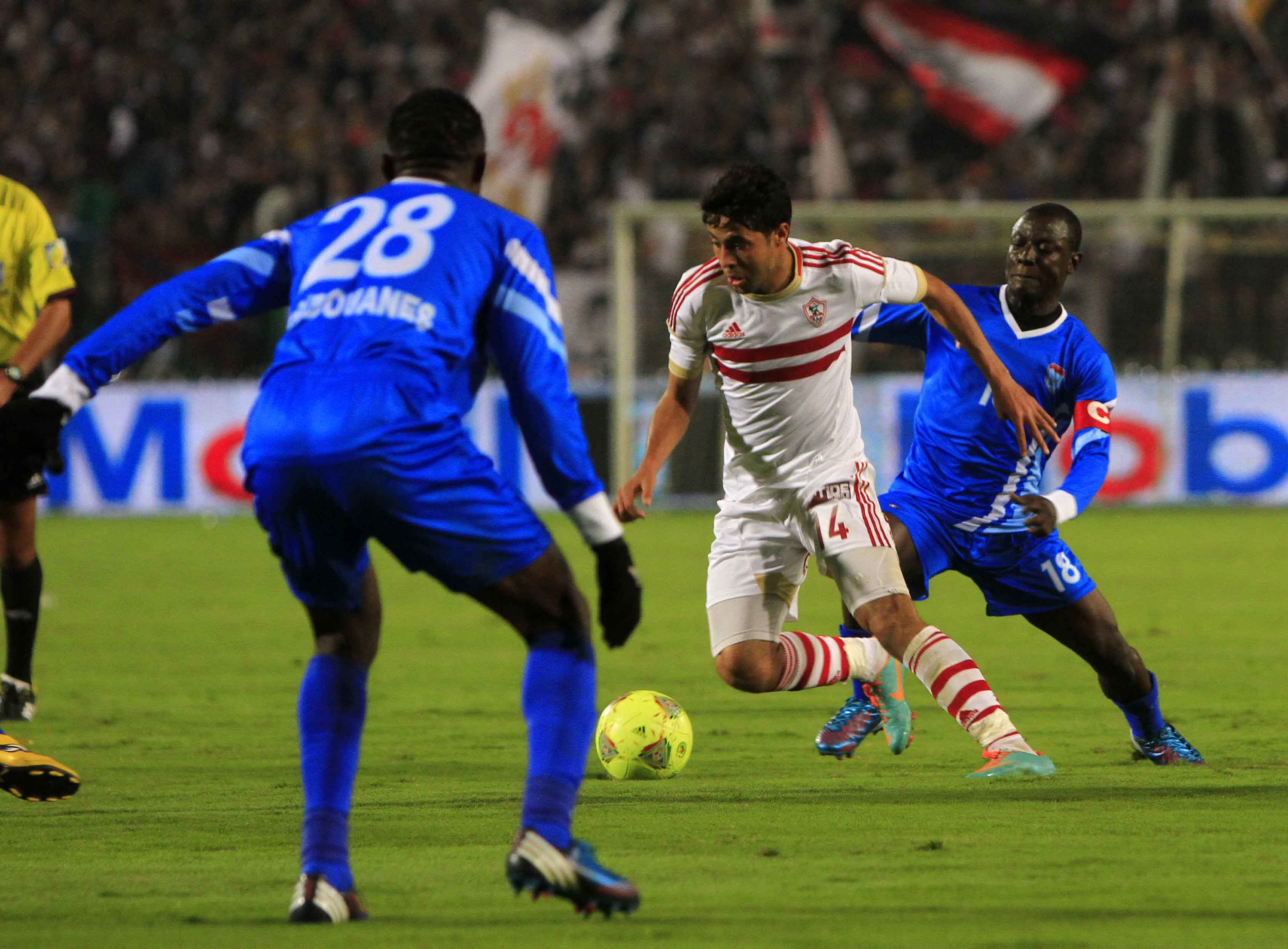 Egyptian club Zamalek, whose five titles is bettered only by the eight of compatriots Al-Ahly, won 2-0 in Cairo against Douanes of Niger. (Photo by Ahemd Al-Malky)