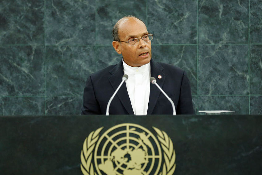 Tunisian President Marzouki during his speech at the UN General assembly on 26 September 2013 (UN Photo)