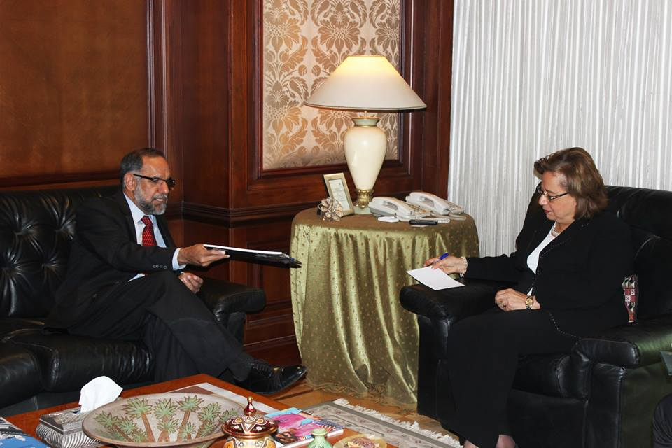 Minister of International Cooperation Naglaa Al-Ahwany met on Thursday with Navdeep Suri, India's ambassador to Egypt, to discuss ways to strengthen relations between Egypt and India (Photo Ministry of International Cooperation Handout)