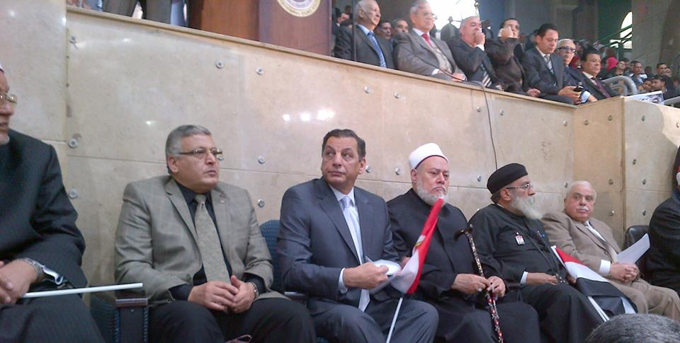 Honourary President of the Front and Fomer Grand Mufti Sheikh Ali Gomaa, and Former Minister of Interior Ahmed Gamal Al-Din at The Misr Balady (Egypt My Country) Front press conference at Cairo Stadium on Tuesday (Photo from Misr Balady Facebook Page)