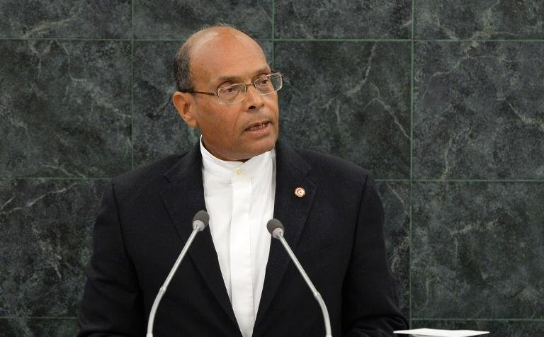 Tunisian president Mohamed Moncef Marzouki addresses the UN General Assembly at the UN headquarters in New York, on September 26, 2013  (AFP Photo/Mike Segar)