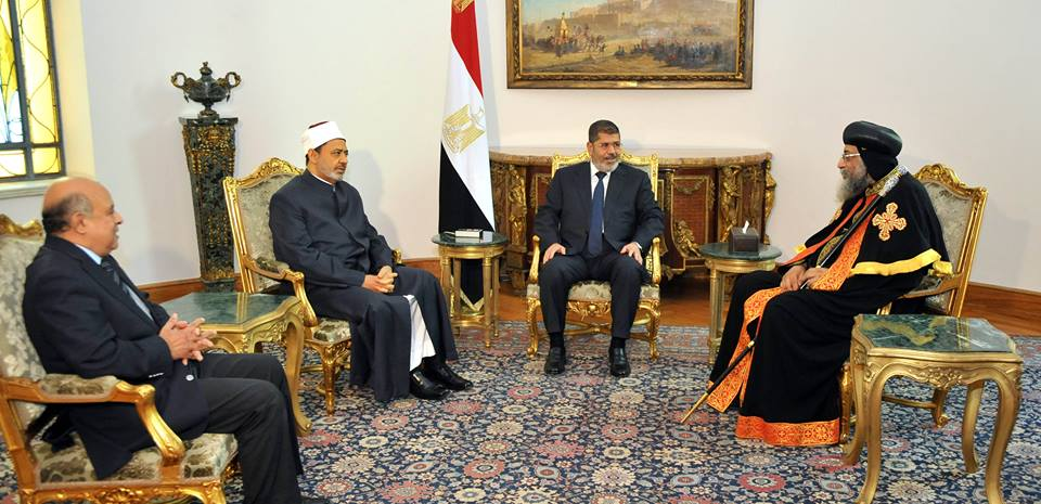 President Mohamed Morsi has met with Grand Imam of Al-Azhar Ahmed Al-Tayeb and Pope of the Coptic Orthodox Church Tawadros II on Tuesday night. (Photo Presidency Handout)