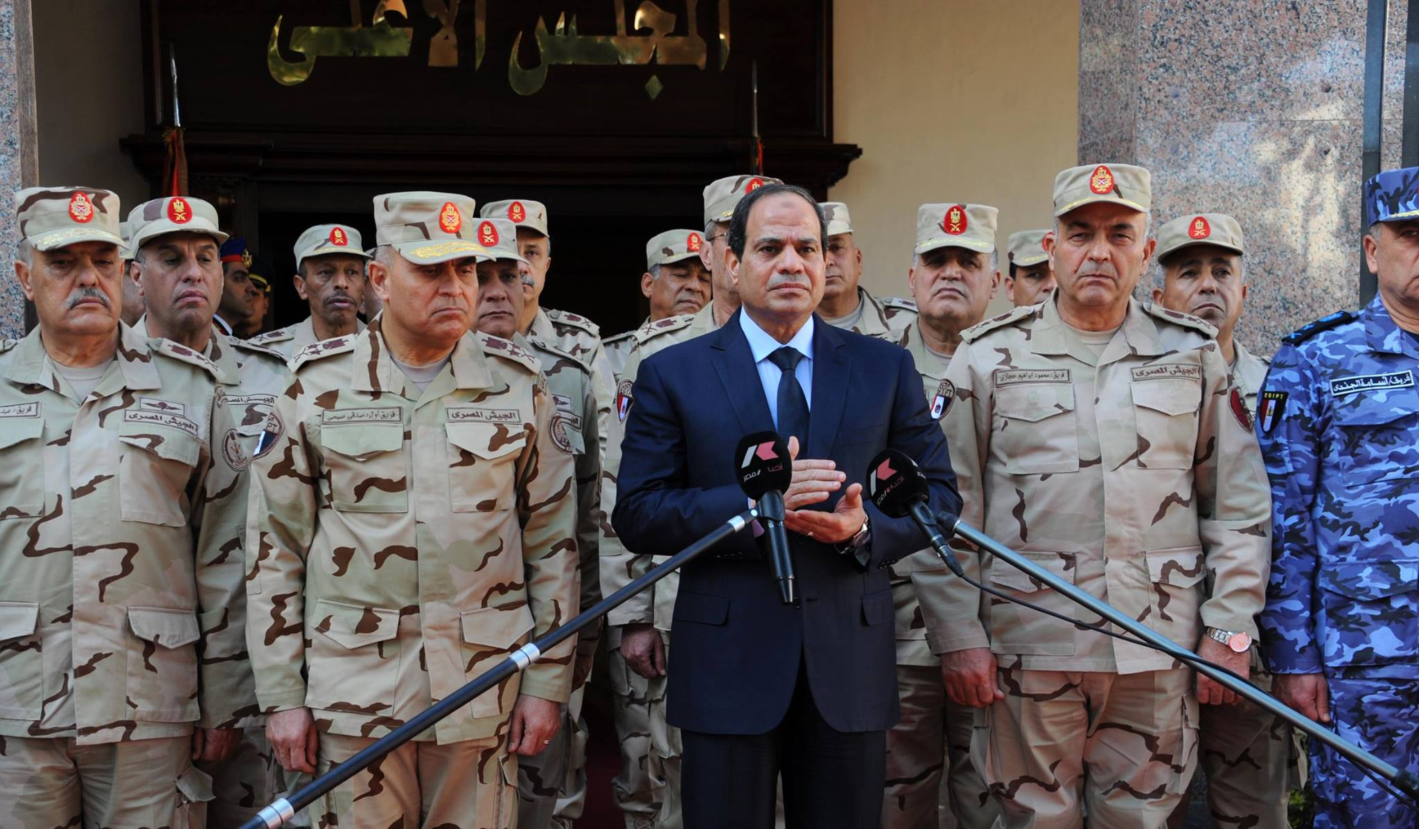 President Abdel Fattah Al-Sisi adresses the nation on 31 January 2015 following series of deadly operations in North Sinai claimed by 'State of Sinai'  (Photo by presidential office to DNE)
