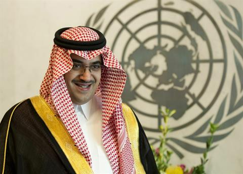 Prince Nawaf Faisal Fahd Abdulaziz of Saudi Arabia waits to meet with the United Nations Secretary General Ban Ki-moon June 6, 2013 at the United Nations in New York.  (AFP PHOTO/Don Emmert)
