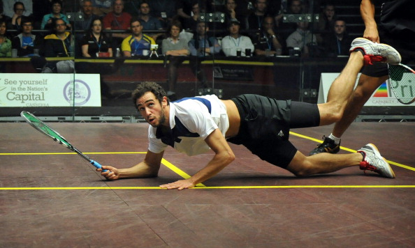 Egyptian squash superstar Ramy Ashour remains on course to retain his EL Gouna International Squash Open title after romping to a 3-0 victory over Finnish challenger Olli Tuominen in his opening match in the 2014 event. (MARK GRAHAM/AFP/GettyImages/ File Photo)