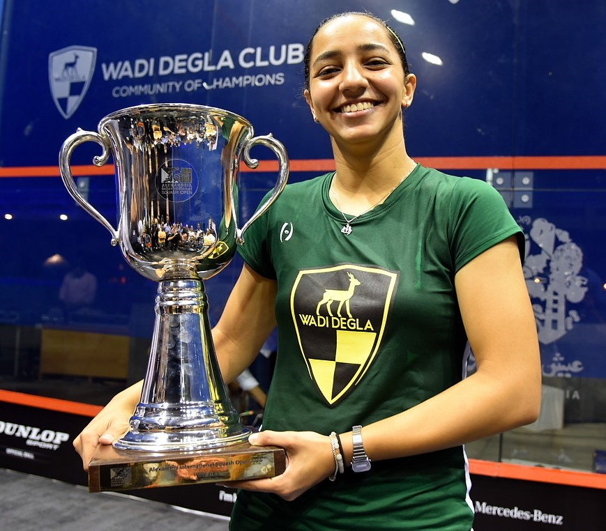 El-Weleily holding the trophy of the Alexandria International Squash Open in June. (Photo courtesy of the official website of the World Squash Federation)