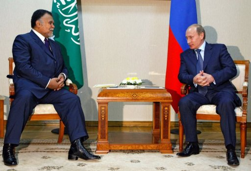 Russia's Vladimir Putin (R) meets Prince Bandar bin Sultan bin Abdul Aziz al-Saud in Astrakhan on September 4, 2008 (Pool/AFP/File, Alexey Nikolsky)