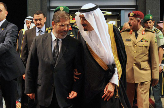Former President Mohamed Morsi upon his arrival in Jeddah on July 11, 2012. AFP PHOTO/AHMED FUAD/HO/ EGYPTIAN PRESIDENCY