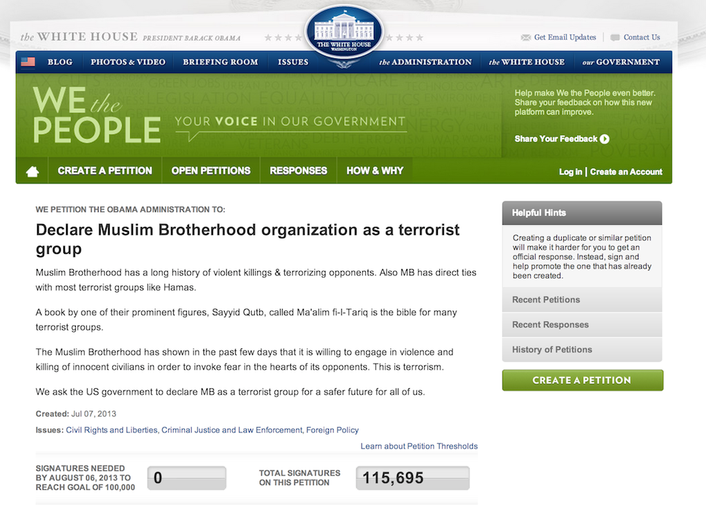Screengrab of the White House website showing the petition and the number of signatures