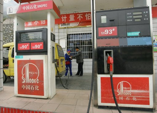 A Sinopec petrol station near Yichang, in central China's Hubei province (AFP/File, Frederic J. Brown)