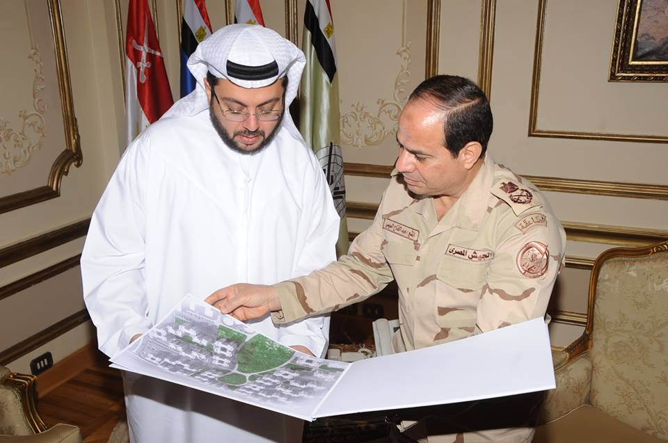 Following his meeting with the Chief Executive Officer of Arabtec Construction Company Hasan Abdullah Ismaik, Minister of Deference Field Marshal Abdel Fattah Al-Sisi announced the construction of one million residential units for Egyptian youth (Photo from Army Spokesman Facebook Page)