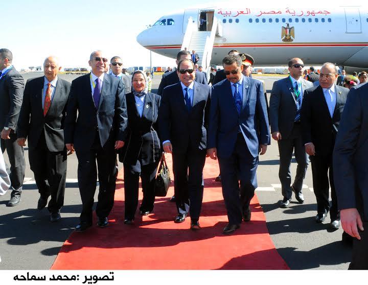 Al-Sisi upon arriving to Ethiopia. (Photo from Presidential Spokesperson.