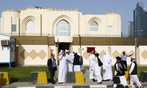 Guests arrive for the opening ceremony of the new Taliban political office in Doha on June 18, 2013 (AFP/File, Faisal al-Timimi)