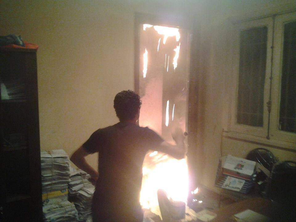 Tamarod's main headquarters in downtown Cairo was set ablaze early on Friday (Photo from Tamarod Facebook Page)