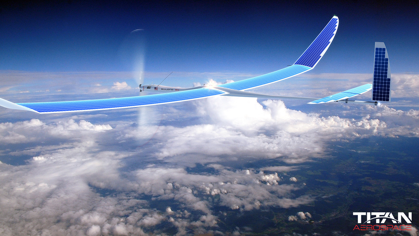 Google bought Titan Aerospace, a maker of solar-powered drones that can help boost Internet access to remote areas  (Photo courtesy of Titan Aerospace)