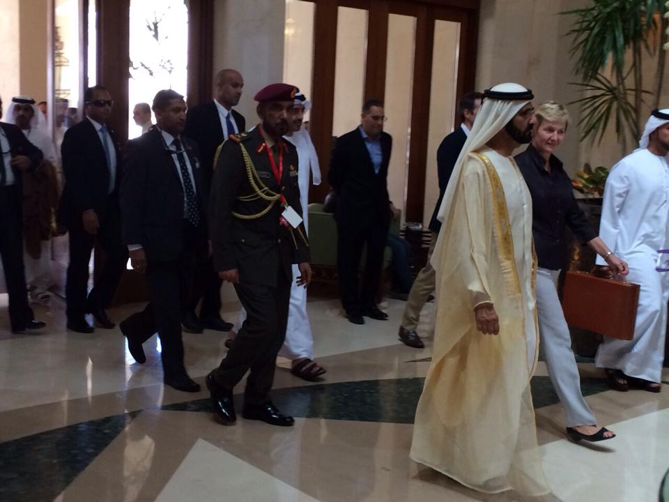 UAE Prime Minister Mohammed bin Rashid Al-Maktoum after arriving to Sharm El-Sheikh on 13 March to attend the Economic Summit