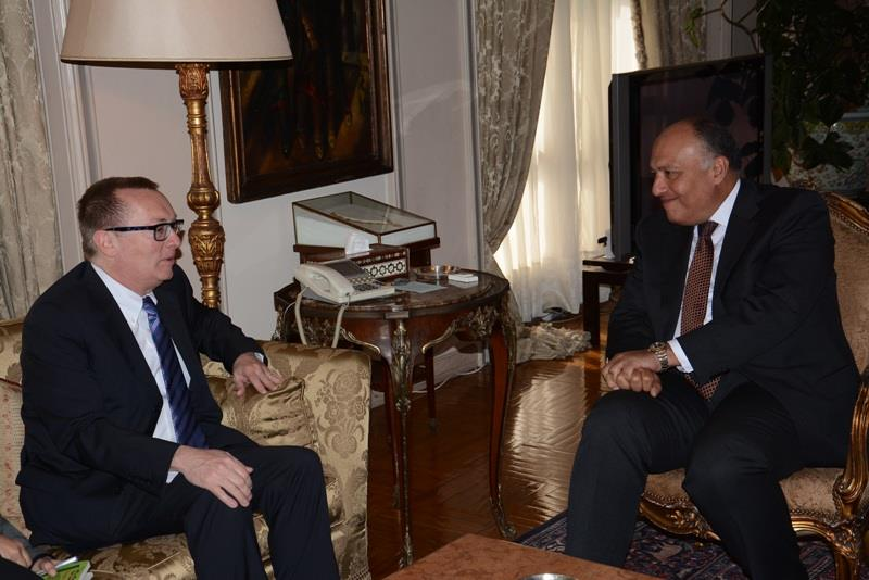 Foreign Minister Sameh Shoukry met with United Nations (UN) Under-Secretary-General for Political Affairs Jeffery Feltman Saturday, to discuss developments in Libya, Syria, Iraq, the Palestinian territories, and Sudan. (Photo Ministry of Foreign Affairs Handout)