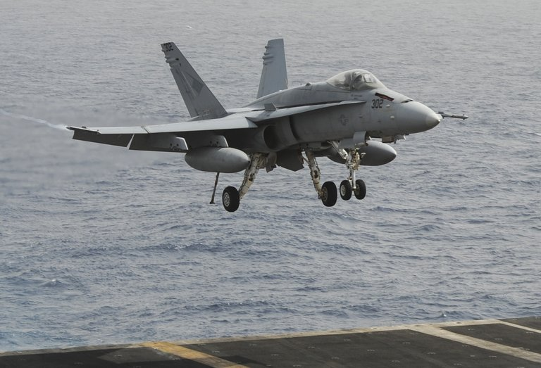 An F/A-18C Hornet preparing to land on aircraft carrier USS Nimitz in the Red Sea on 3 September 2013 (Photo from the US Navy website/AFP/Kelly M. Agee)
