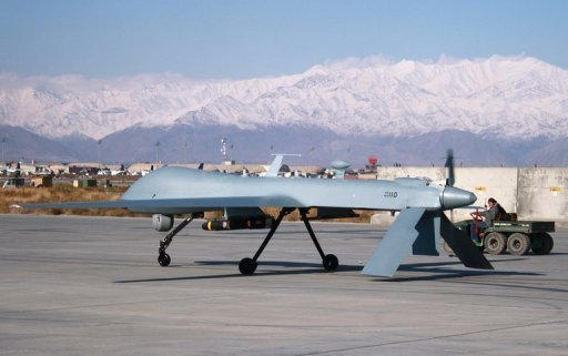 A US Predator unmanned drone armed with a missile at Bagram air base in Afghanistan on November 27, 2009 (AFP/File, Bonny Schoonakker)