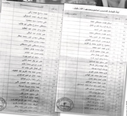A list of the accepted pilots in the latest announcement by EgyptAir, results were announced in 2013 (Photo handout to DNE)