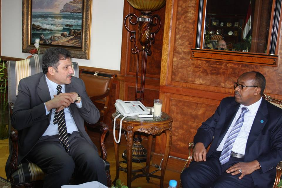 Water Resources and Irrigation Minister Hossam El-Moghazy met with Ethiopia's Ambassador to Egypt, Mahmoud Derir, on Tuesday in Cairo, regarding preparations for the Grand Ethiopian Renaissance Dam (GERD) National Committee. (Photo from Water Resources and Irrigation Ministry)