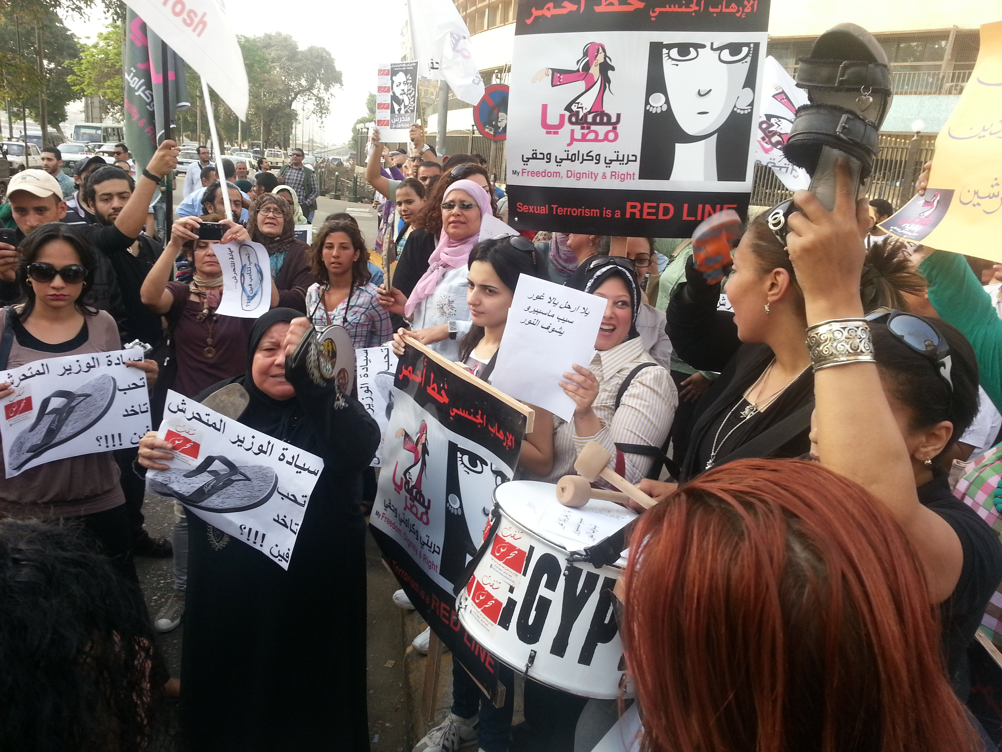 Women protest against Minister of Information on 28 April 2013 (DNE File Photo)