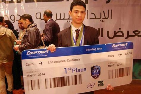 Abdallah Assem, a 17-year-old student who was supposed to represent Egypt in the Intel science fair, was prevented from travelling on Sunday. (Photo from FJP)