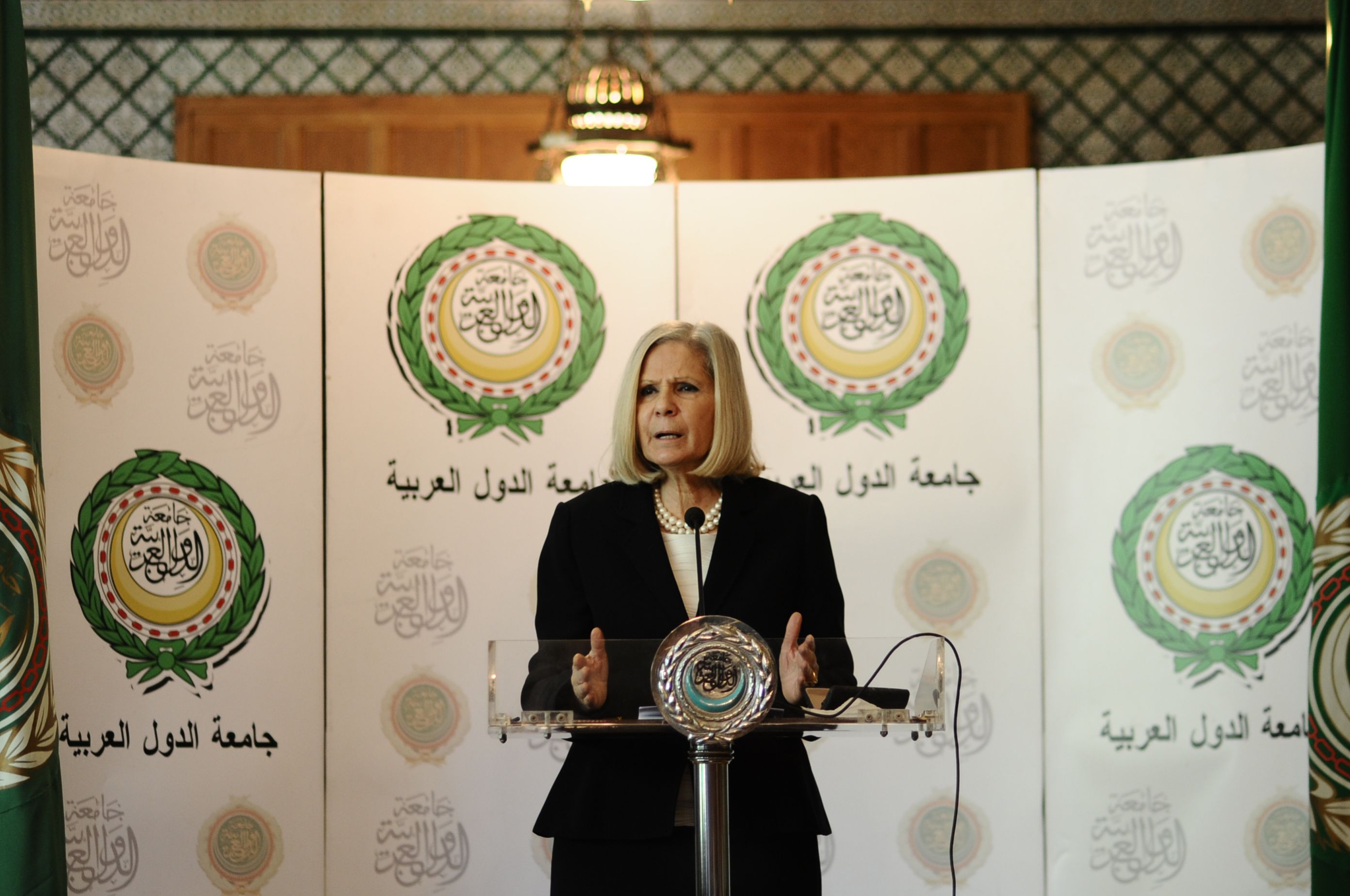 Haifa Abu Ghazaleh, the head of the Arab League observer mission, presented the initial findings of her mission on Thursday morning. (Ali Omar)