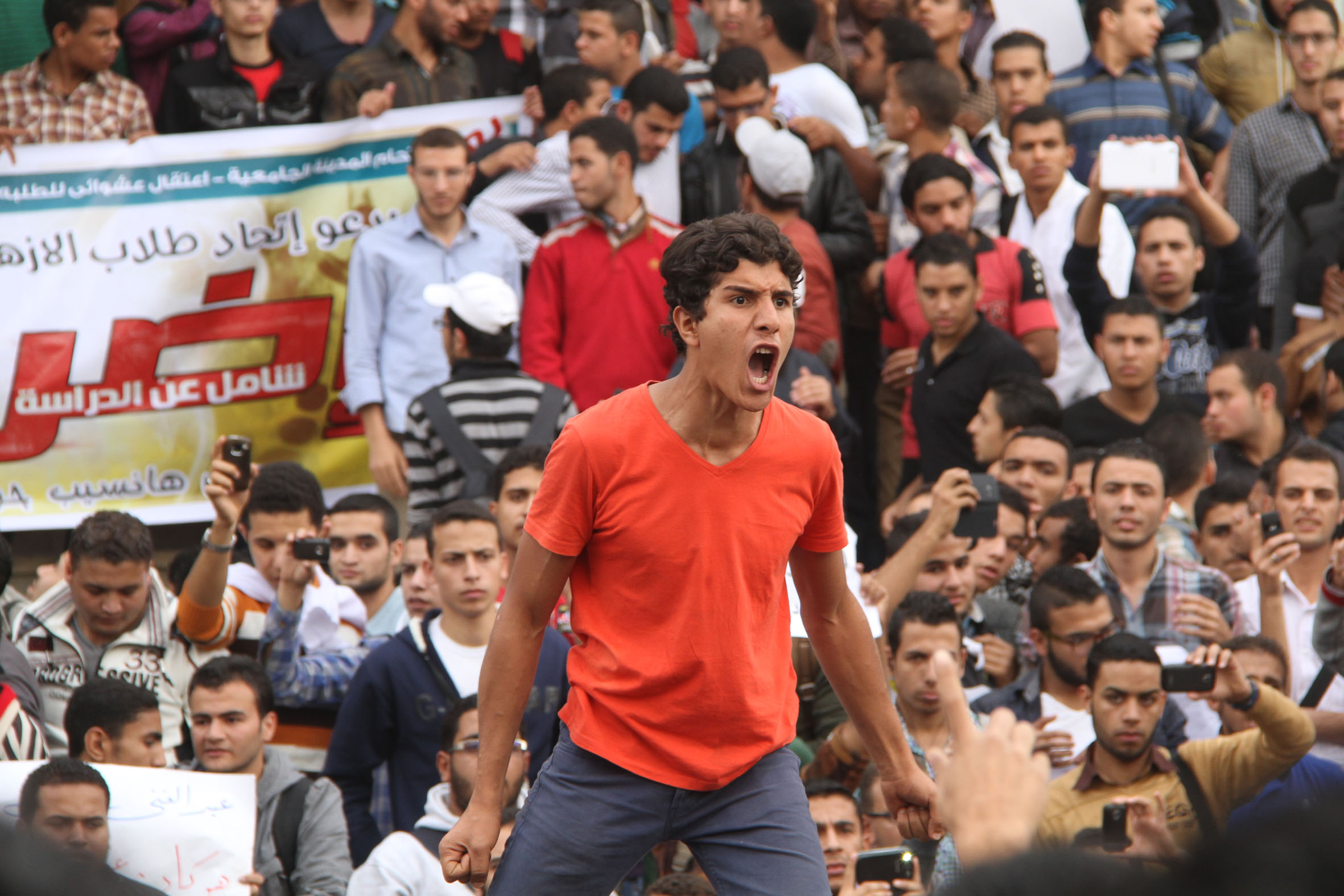 Azhar University students protest on November 2013.The nationwide branches of Al-Azhar University topped the charts for number of protests. (Photo by Mohamed Omar\File)
